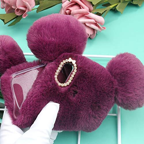 51sh%2BuM4ecL - Miagon Maus Schwanz Handyhülle für Huawei Y6 2019,Super Weich Winter Warm Lustig Kunstpelz Plüsch Fluffy Flexibel Handytasche Schale Case,Braun