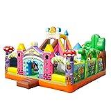 AABABY Playhouse Jumping Castle Château Gonflable Bounce avec Air Castle Ventilateur avec Toboggan Durable Cousu avec Un Cadeau matériel très épais for Les Enfants