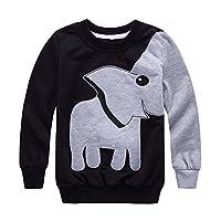 Tkiames Little Boys Lucky Elephant Sweaters Jumpers Sweatshirt Pullover Sportswear Tops 1-6Y (5-6 Years, Black2)
