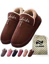 Casera de interior de algodón zapatillas de invierno acogedor espuma de la memoria caliente antideslizante resistente al desgaste de lana arrastre Lijeer