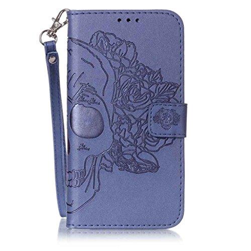 Für Galaxy S7 Edge Hülle [Frei Displayschutzfolie],Fatcatparadise(TM) Schutzhülle Tasche Handyhülle Schutz Hüllen im Bookstyle Ledertasche mit Stand Funktion Kartenfächer Magnetverschluss Magnet Etui  Blue Skull Rose