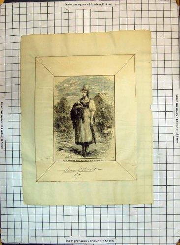 Ländliche Antiker Druck der Frauen-Schwarzwald-Deutsch-Kostüm-1867 (Schwarzwald Kostüm)