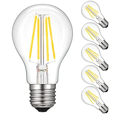 Kohree E27 LED Bulb, Kohree Light Bulb 75 W Equivalent Bulb 1000LM Warm White 2700K LED Bulb Classic Retrofit E26 E27 Corn Bulb, Clear, 8W, not dimmable, Pack of 5 [Energy Class A+]