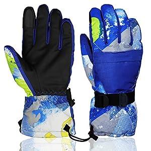 Ski Handschuhe Plus Samt Warm Verdickung Rutschfeste Winter Schnee Wasserdichte Handschuhe Touchscreen-Handschuhe für Männer und Frauen, Jungen,Mädchen.Momoon
