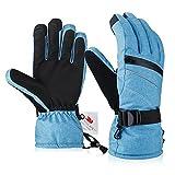 Fazitrip Skihandschuhe Winterhandschuhe Handschuhe Damen 3M Thinsulate Ski Handschuhe Blau