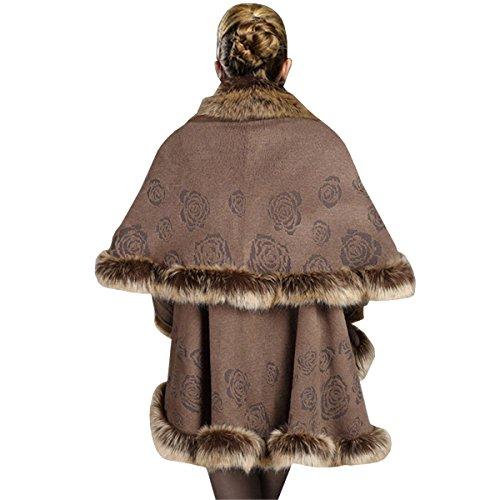 KAXIDY Luxueux Ponchos et Capes Manteaux Châles avec Faux Fourrure de Renard pour Femmes Kaki