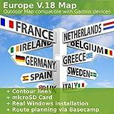 Europa V.18 - Profi Outdoor Topo Karte - Topografische Skandinavien Karte & komplett Europa kompatibel zu Garmin Navigation - Zum Wandern, Geocachen, Bergsteigen, Radfahren, Radtour