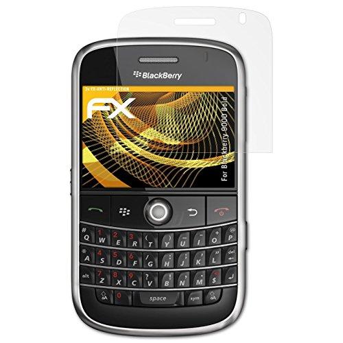 atFolix Panzerfolie kompatibel mit BlackBerry 9000 Bold Schutzfolie, entspiegelnde und stoßdämpfende FX Folie (3X) Blackberry Bold Screen Protector