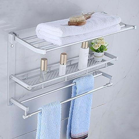 Cuarto de baño de aluminio del espacio de toallas de toallas de baño estante colgante de hardware baño Doble - Polo de toallas Estante plegable (una variedad de estilos disponibles) ( Color : E )