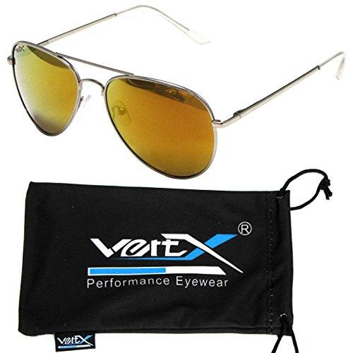 VertX Herren polarisiert Aviator Sonnenbrille klassischen Teardrop Spiegel - Orange-Objektiv