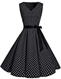 bridesmay 1950er Vintage Rockabilly V-Ausschnitt Kleid Retro Cocktailkleid Schwingen Kleid Faltenrock Black Small White Dot M