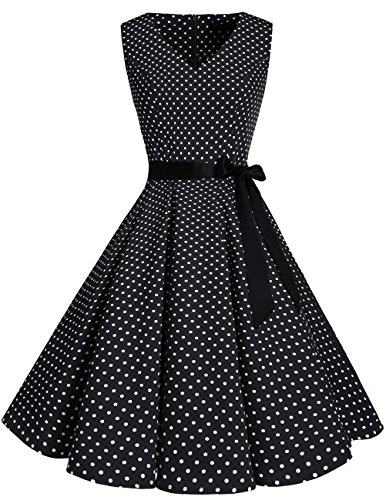 Kostüm 50's Swing - bridesmay 1950er V-Ausschnitt Kleid Vintage Cocktailkleid Rockabilly Retro Schwingen Kleid Faltenrock Black Small White Dot XL