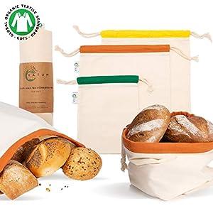 Vatum Brotbeutel 3er Set aus Bio Baumwolle (GOTS) – Obst- und Gemüsebeutel für Zero Waste inkl. E-Book – umweltfreundlicher Brotsack mit Kordelzug – Wiederverwendbare Baumwollbeutel