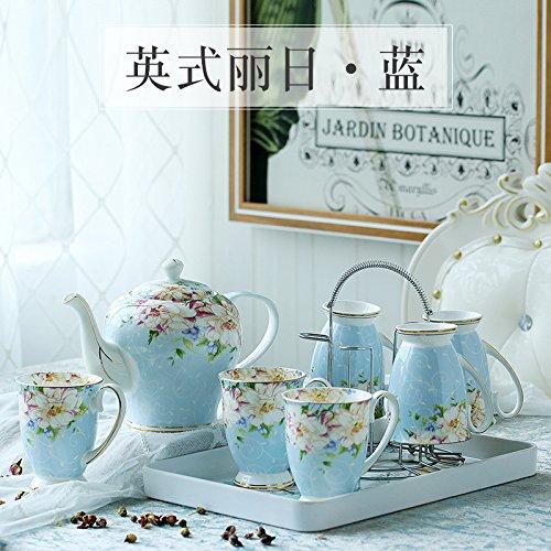 hongli Bone Porzellan Tasse Set/Home Wohnzimmer Tasse Set/einfache europäische Keramik Tasse/Tasse mit komplettem Set/Tasse mit Tablett