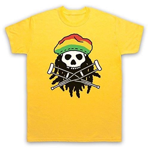 Inspiriert durch Jackass Skull & Crossbones Logo Rasta Unofficial Herren T-Shirt Gelb