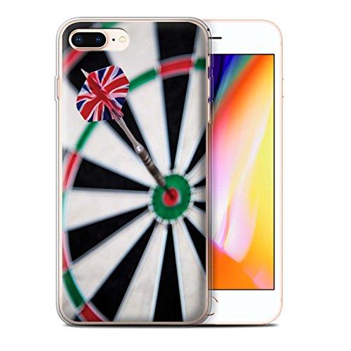 Stuff4 Gel TPU Hülle / Case für Apple iPhone 8 Plus / Dreifach Bullseye Muster / Darts Foto Kollektion Dartflug
