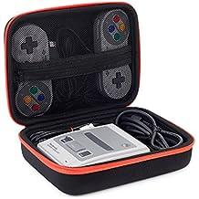 Opaza Tragbare Reise Mini Case für SNES Classic Mini, Super Nintendo NES Classic Edition Konsole (2017), 2 Controller, HDMI Kabel und weiteres Zubehör