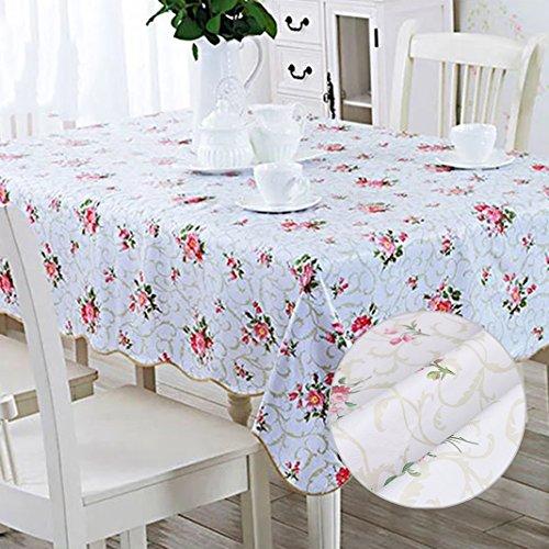 Nappe toile rectangulaire Nappe de table tissu imperméable plastique souple Nappe en Toile Cirée PVC Couvertures de table pour dîner Fête Picnic Cuisine Décoration intérieure (137x183cm) Rouge petit floral