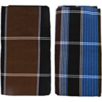 HTC Saree Men's Cotton Lungi (Brown and Blue, Free Size) - Pack of 2