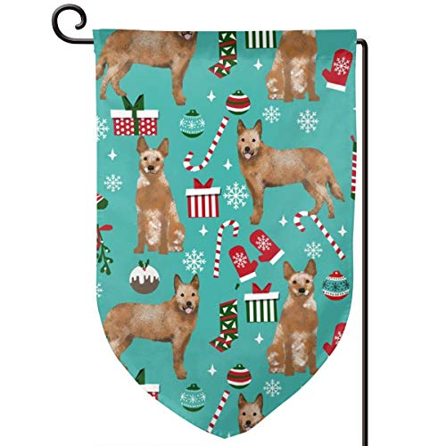 vintage cap Australian Cattle Dog red Heeler Breed c Polyester Garden Flag House Banner 12.5 x 18 inch, Two Sided Welcome Yard Decoration Flag for Wedding Party Home Decor (Flag C Garden)