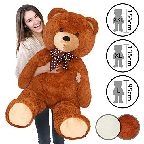 Infantastic Teddybär - in 3 Größen: XXL (156 cm), XL (136 cm), L (95 cm) und 2 Farben (Weiß, Braun) - Großer Teddy, Plüschbär, Kuschelbär, Kuscheltier, Stofftier