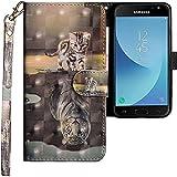 CLM-Tech kompatibel mit Samsung Galaxy J3 2017 Hülle, Tasche aus Kunstleder, Katze Tiger grau, PU Leder-Tasche für Galaxy J3 2017 Lederhülle