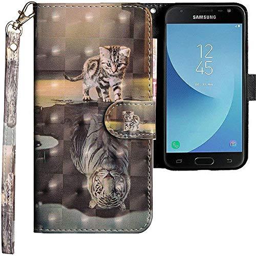 CLM-Tech kompatibel mit Samsung Galaxy J3 2017 Hülle, Tasche aus Kunstleder, Katze Tiger grau, PU Leder-Tasche für Galaxy J3 2017 Lederhülle -