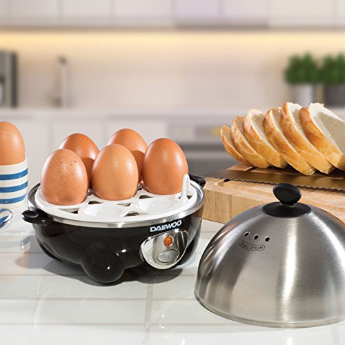 51sh5%2BnsnNL. SS500  - Daewoo 360W Compact Egg & Omelette Cooker with Steam Vents, Boil Dry Protection, Heat-Resistant Handles - Silver/Black