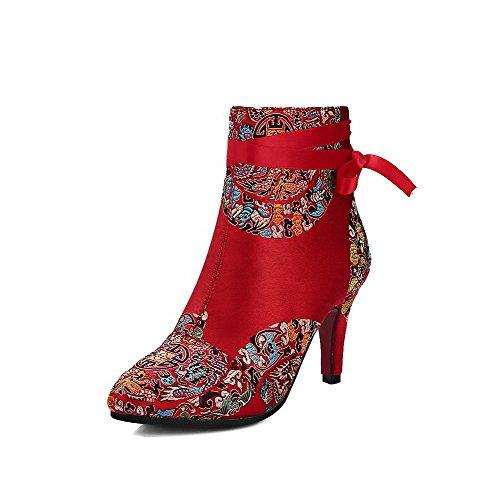 VogueZone009 Donna Cerniera Scarpe A Punta Tacco Alto Bassa Altezza Stivali con Metallo, Rosso, 35