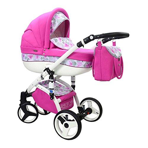 Kinderwagen-Kombikinderwagen-3in1-Buggy-Sportkinderwagen-Babyschale-EVADO-T-pink-Blumen-T-40