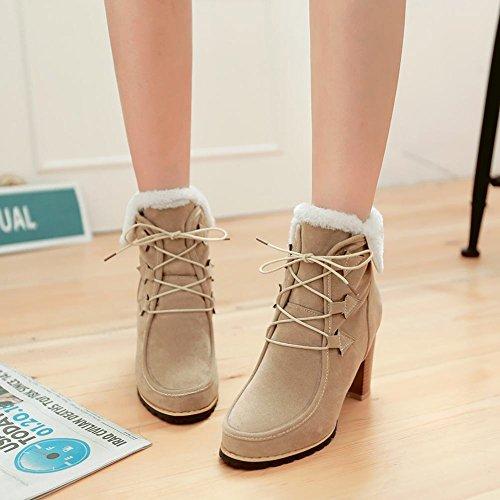 Mee Shoes Damen chunky heels runde Schnürsenkel kurzschaft Stiefel Beige