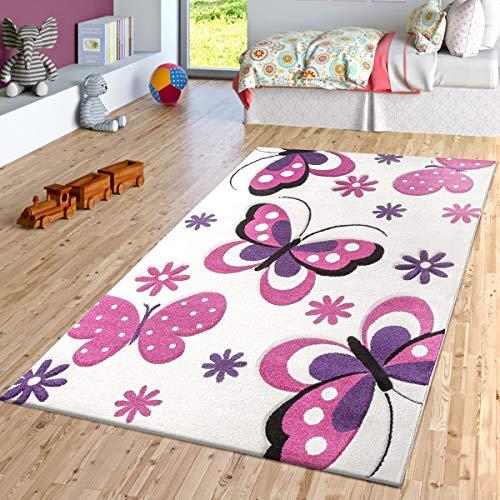 g Teppich Creme Fuchsia Lila Kinderzimmer Teppiche Butterfly Design, Größe:120x170 cm ()