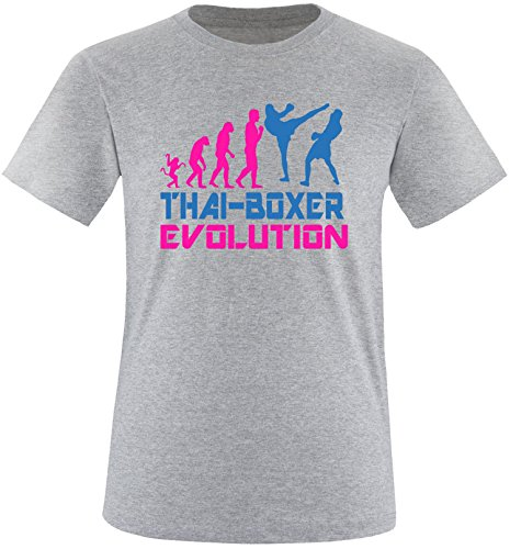EZYshirt® Thai Boxing Evolution Herren Rundhals T-Shirt Grau/Pink/Blau