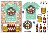 Scheda di compleanno, motivo: freccette e birra T Shirt fronte di Sharon Poore
