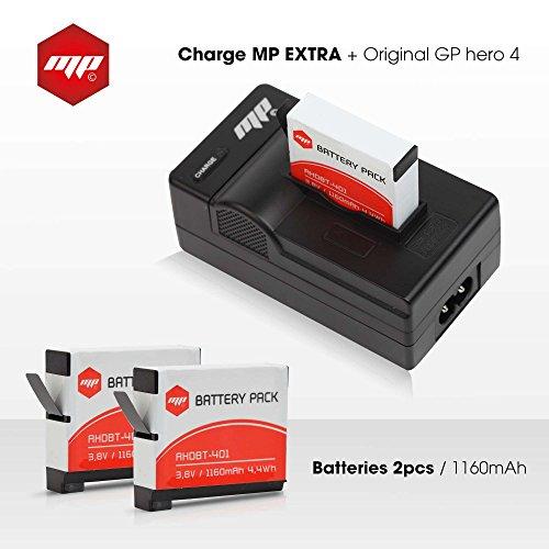 2 x batteries + chargeur pour gopro hero 4 - MP EXTRA® inclus : chargeur de batterie pour gopro hero 4 Europe US UK / adaptateur allume cigare / boite de protection pour batterie gopro 4 silver / black