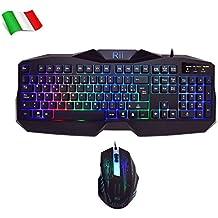Rii Gaming RK400 (layout ITALIANO) - Tastiera italiana da gioco + Mouse da gioco 2000 DPI (Retroilluminati a LED 7 colori)