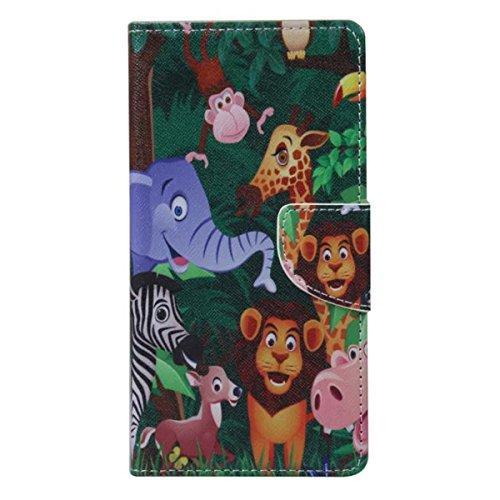 Etche Schutzhülle für iPhone 6S/6 4.7 Zoll Ledertasche,iPhone 6S/6 4.7 Zoll HandyHülle bunt Muster,iPhone 6S/6 4.7 Zoll wallet Schutzhülle, niedlich bunt kreativ hübsch Blumen Flip Cover PU Leder Case Affe elefant