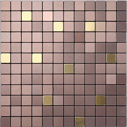 Hochwertige wasserdichte Aluminium-Kunststoff-Panel Fliesen Aufkleber, Metall Kleber selbst Fliesen perfekt für Zuhause/Schlafzimmer dekorieren, self-stick Mosaik, LSJ12 (1 Stück   30x30cm, J12(Braun))