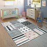 Paco Home Kinderteppich Kinderzimmer Konturenschnitt Stern Muster Rosa Grau Pastellfarben, Grösse:Ø 120 cm Rund