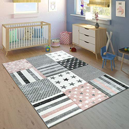 Paco Home Kinderteppich Kinderzimmer Konturenschnitt Stern Muster Rosa Grau Pastellfarben, Grösse:160x230 cm - Platt Teppich