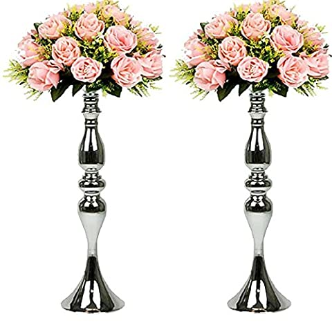 2 Pcs/set 50cm Height Metal Candle Holder Candle Stand Wedding Centerpiece Event Road Lead Flower Rack (50cm, Silver)