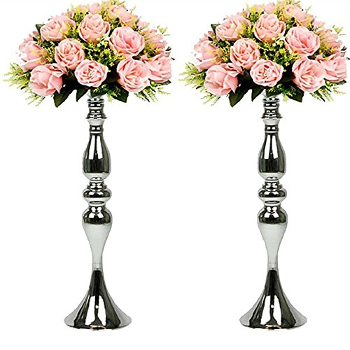Tall candle holders amazon 2 pcsset 50cm height metal candle holder candle stand wedding centerpiece event road lead flower rack 50cm silver junglespirit Choice Image