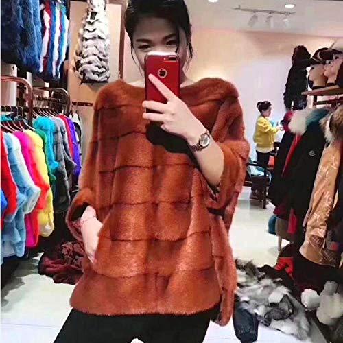 ZYJANO Warmer Mantel,Frauen natürliche Kopftuch Jacke Jacke echte edle europäischen und amerikanischen High Street Style 3