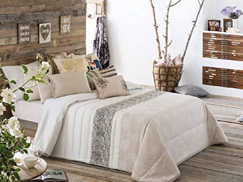 Antilo - Couvre-lit boutis Manille pour lit de 150 cm avec 2 taies d'oreiller décoratives 60 x 40 cm Beige