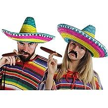 Déguisement accessoires pour adulte du parfait couple Mexicain avec un poncho X2, un sombrero X2, un cigare X2 et une moustache X2. Idéal pour les vacances à la plage ou les enterrements de vie de garçon et de jeune fille.
