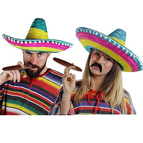 Déguisement accessoires pour adulte du parfait couple Mexicain avec un poncho X2, un sombrero X2, un cigare X2 et une moustache X2. Idéal pour les vacances à la plage ou les enterrements de vie de garçon et de jeune fille. (Multicolore)