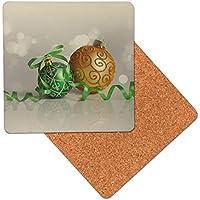 Chucherías y cinta verde Posavasos de madera de primera calidad - base de corcho - posavasos