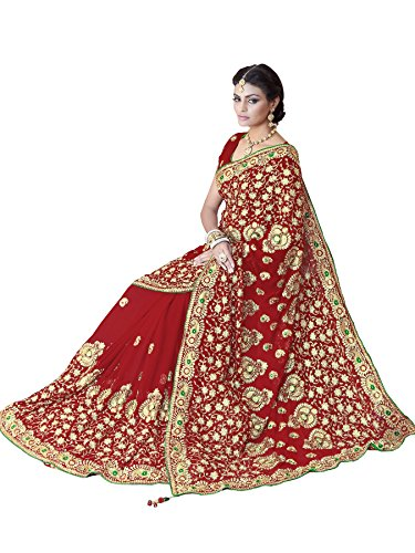 SOURBH Women's Faux Georgette Heavy Hand Work Embroidery Bridal/Wedding Wear Saree (2386_Maroon)