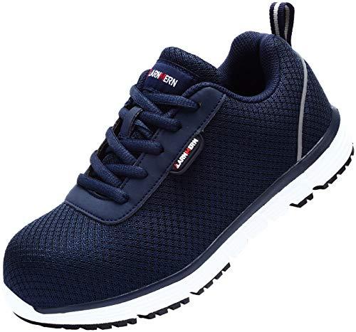 LARNMERN Zapatos de Trabajo con Mujer, LM-8038 SRC Punta de Acero Ultra Liviano Suave y cómodo Transpirable Antideslizante Zapatillas de Seguridad(38 EU,Azul Oscuro)