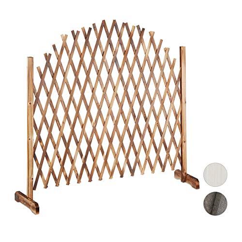 Relaxdays Rankgitter Holz, ausziehbar bis 200cm, Rankhilfe Kletterpflanzen, freistehend, Garten, Balkon, Terrasse, natur